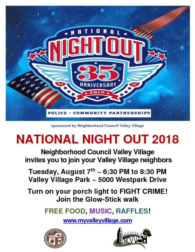 Valley Village National Night Out – Neighborhood Council